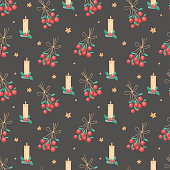 Seamless pattern of Christmas isolated icons on a black background. Winter holiday symbols.