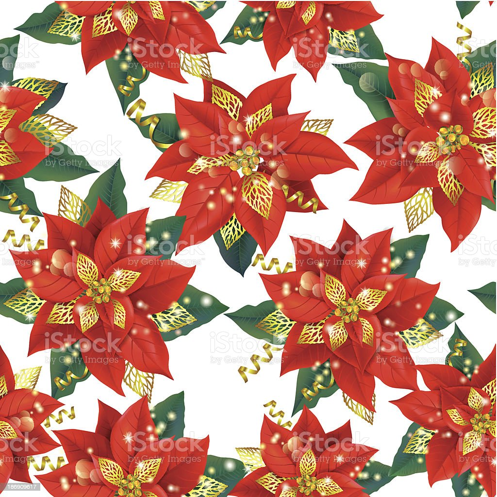 Seamless pattern of Christmas Poinsettia with golden decorations royalty-free stock vector art