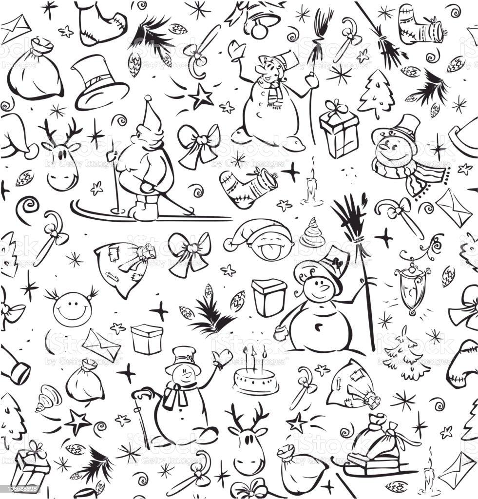 Seamless  pattern of Christmas symbols. royalty-free stock vector art