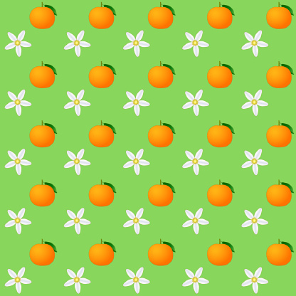 Seamless pattern of citrus blossom and citrus fruit ponkan