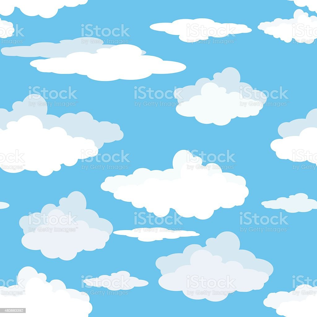 Seamless pattern of clouds on blue sky. vector art illustration