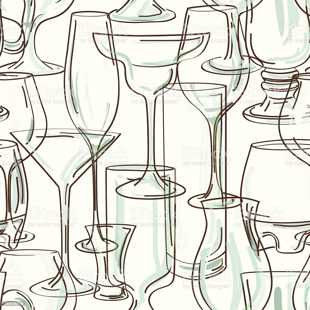 Seamless pattern of cocktail glasses royalty-free stock vector art