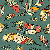 seamless pattern of colored feathers