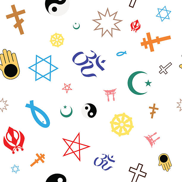 seamless pattern of colored religious symbols - religious symbols stock illustrations, clip art, cartoons, & icons