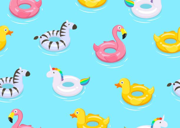 ilustrações de stock, clip art, desenhos animados e ícones de seamless pattern of colorful animals floats cute kids toys on blue background  - vector illustration. - brinquedos na piscina