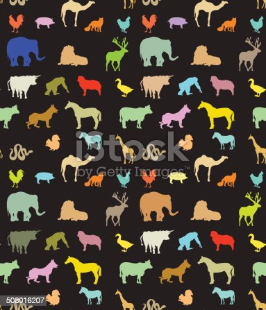 Seamless pattern of  colorful animals silhouettes