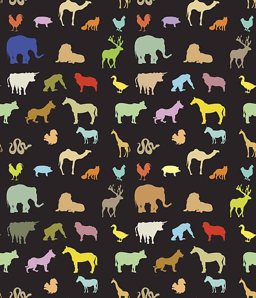 Seamless pattern of  colorful animals silhouettes Seamless pattern of  colorful animals silhouettes lion feline stock illustrations
