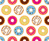Seamless pattern of colorful donuts glazed sweet sugar icing background