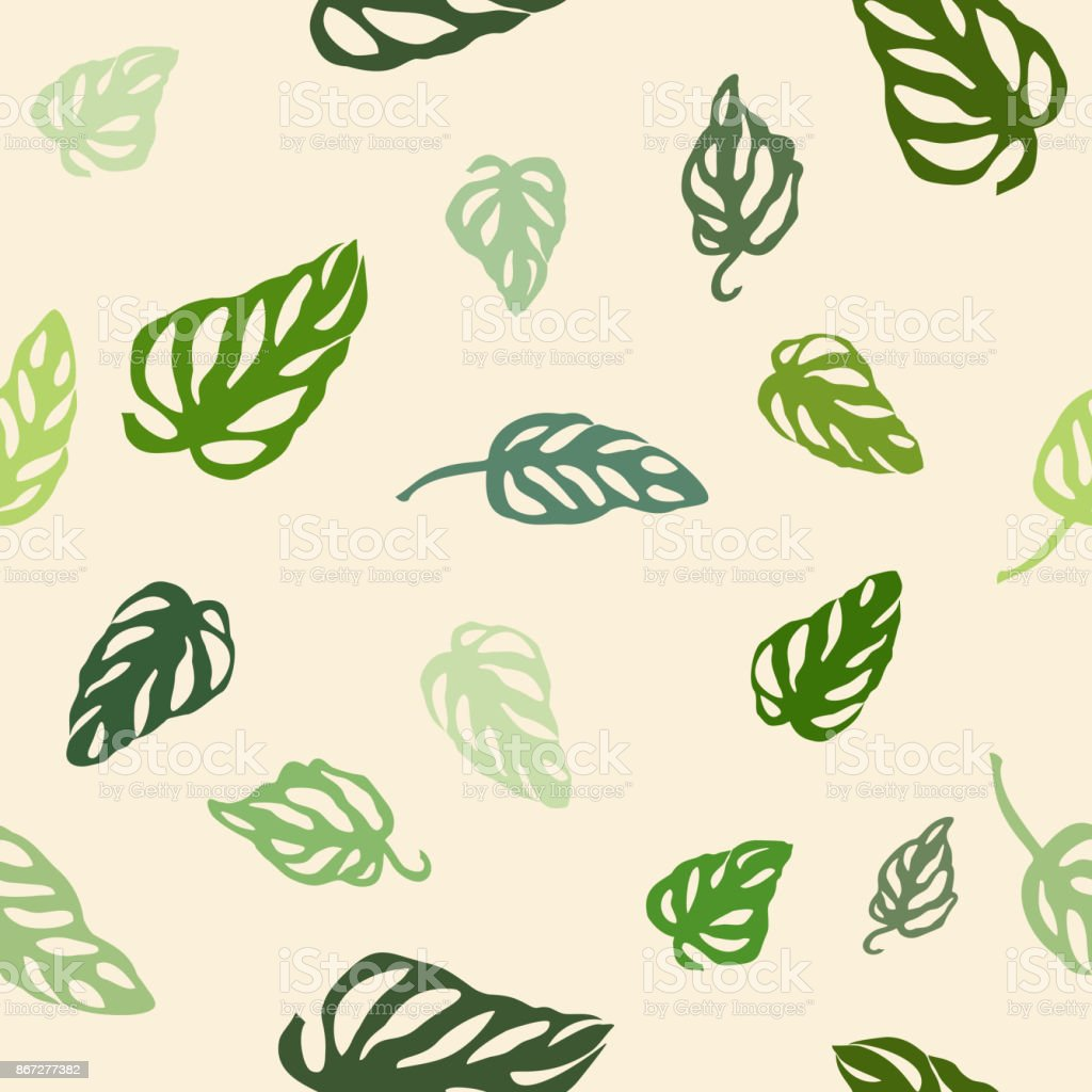 Seamless pattern of colorful leaves Monstera, isolated on yellow background. vector art illustration