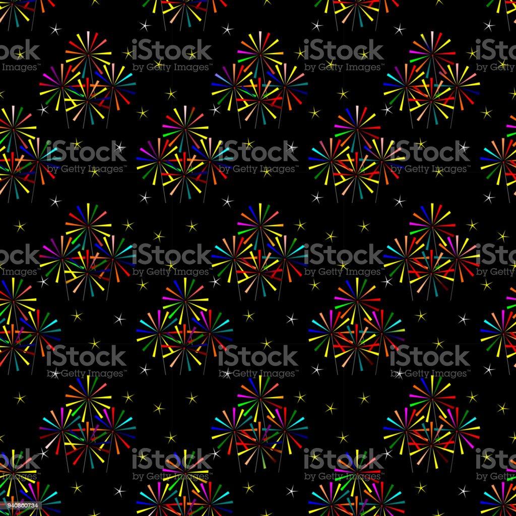 Nahtlose Muster der bunten Wunderkerze auf dunklem Hintergrund. – Vektorgrafik