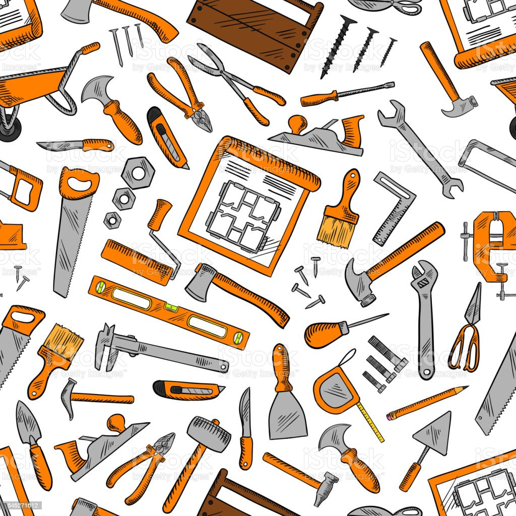seamless pattern of construction tools background stock vector art