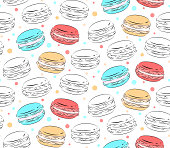 Seamless pattern of contour macaroons with color spots on a white background. Vector texture