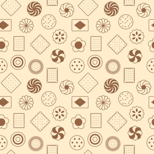 seamless pattern of cookies vector art illustration