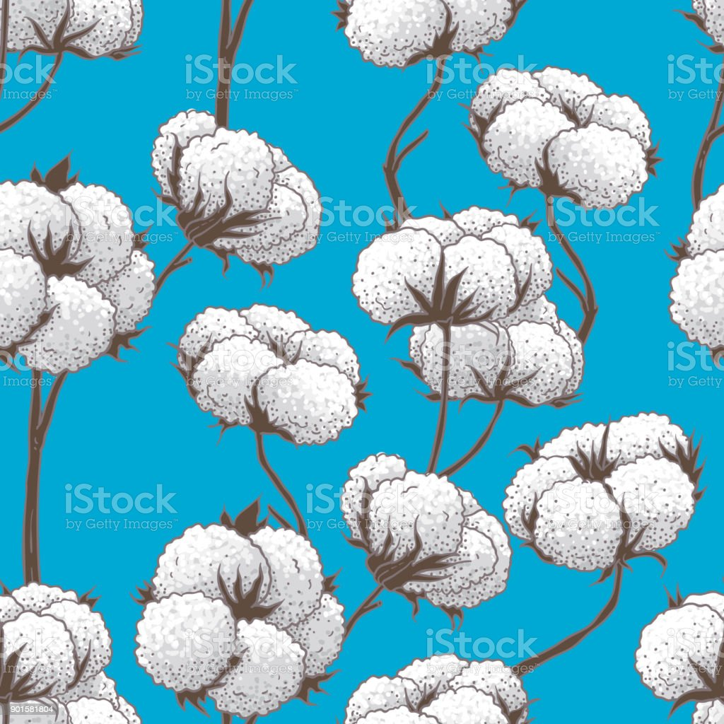 Seamless Pattern Of Cotton Buds vector art illustration
