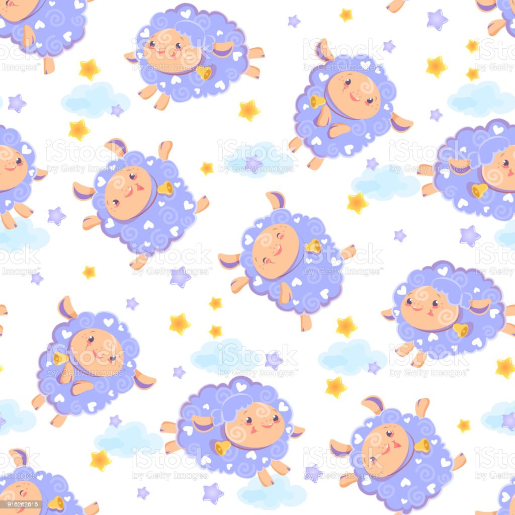 Seamless Pattern Of Counting Cute Sheep To Fall Asleep Cartoon Happy Jumping With Stars
