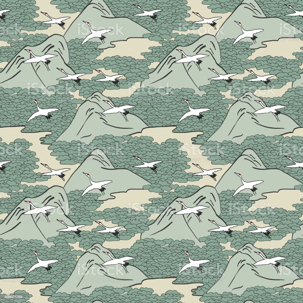 Seamless pattern of cranes flying over mountains vector art illustration