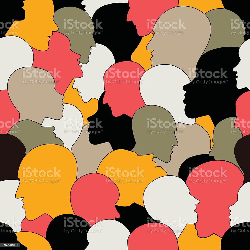 Seamless pattern of  crowd of many different people profile heads vector art illustration
