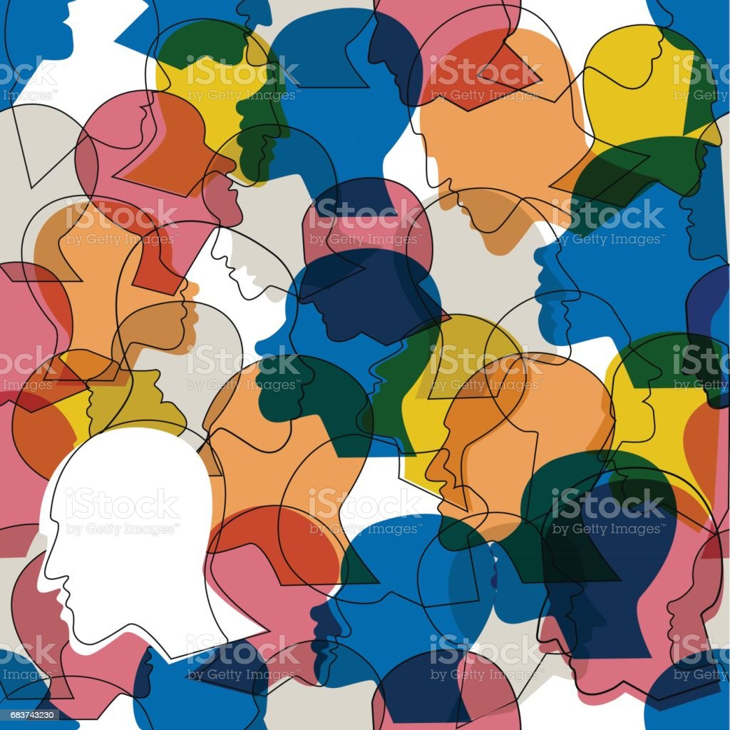 Seamless pattern of crowd of many different people profile heads.