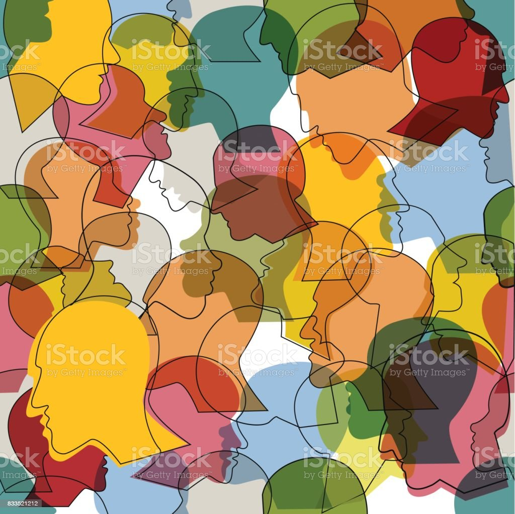 Seamless pattern of  crowd of many different people profile heads. vector art illustration
