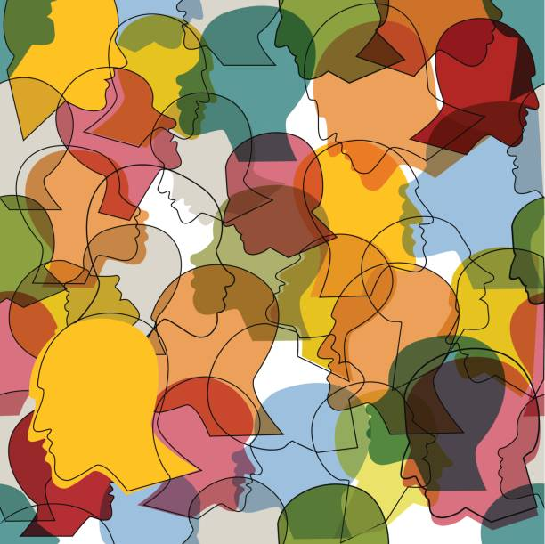 Seamless pattern of  crowd of many different people profile heads. Seamless pattern of a crowd of many different people profile heads. Vector background. debate stock illustrations