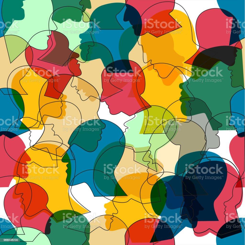 Patrón sin fisuras de multitud de cabezas de Perfil de muchas personas diferentes. ilustración de patrón sin fisuras de multitud de cabezas de perfil de muchas personas diferentes y más vectores libres de derechos de adulto libre de derechos