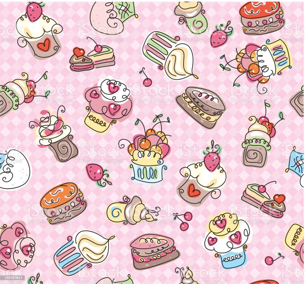 Seamless pattern  of cupcakes. royalty-free stock vector art