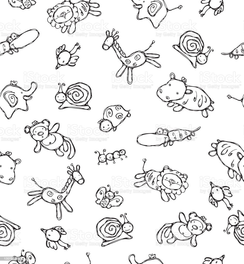 Seamless pattern of cute animals. royalty-free stock vector art