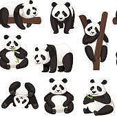 Seamless pattern of cute big panda in different poses cartoon animal design flat vector illustration.