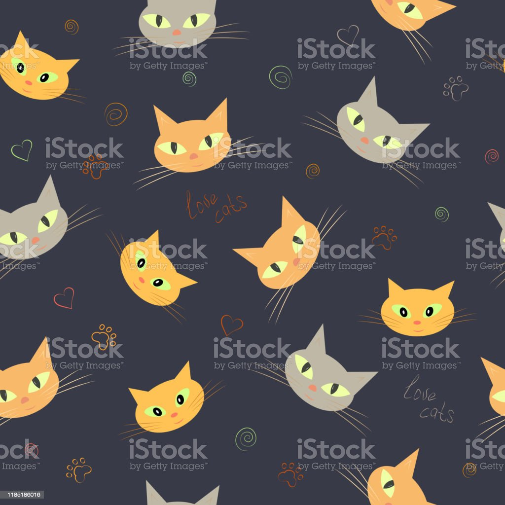 Seamless Pattern Of Cute Cat Faces Background Wallpaper Vector