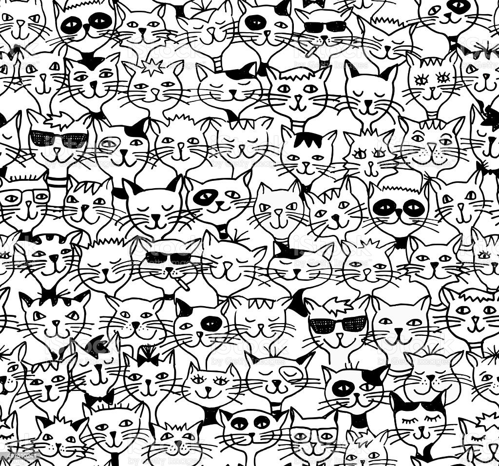 Seamless pattern of cute cats - black and white drawing vector art illustration