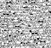 Seamless pattern of cute cats - black and white drawing