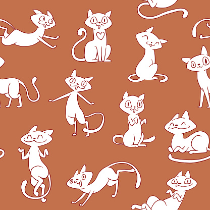Seamless pattern of cute cats on a brown background