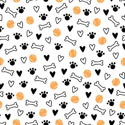 Seamless pattern of cute dog puppy symbol