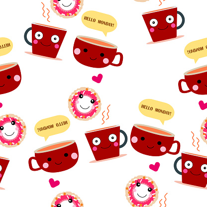 seamless pattern of  cute donut and  red cup of coffee coffee ,couple  concept  cartoon design background  useful  for art and print  vector eps.10