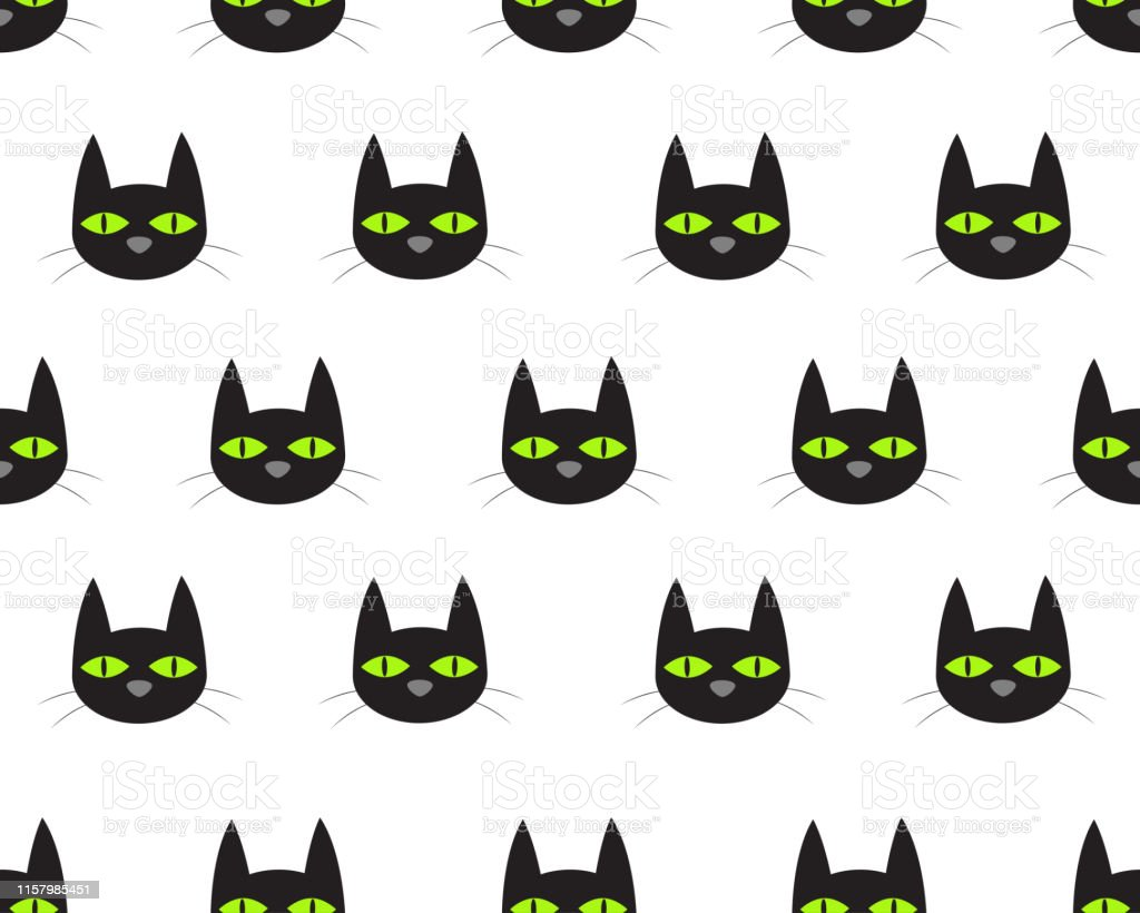 Seamless pattern of cute face black cat on white background