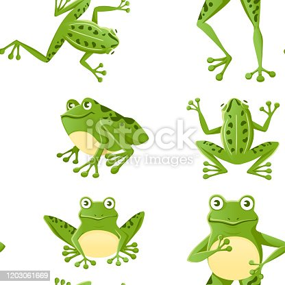 Seamless pattern of cute smiling green frog sitting on ground cartoon animal design flat vector illustration on white background.