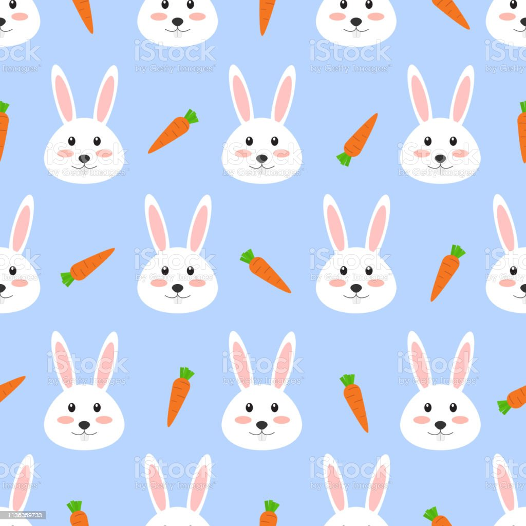 Seamless pattern of cute white rabbit with carrot on white background...