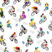 Seamless pattern of cyclists. A woman on a bicycle, a man on a bicycle, a child on a bicycle. Isometric 3d