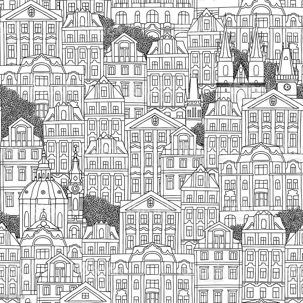 Seamless pattern of Czech houses royalty-free seamless pattern of czech houses stock vector art & more images of apartment