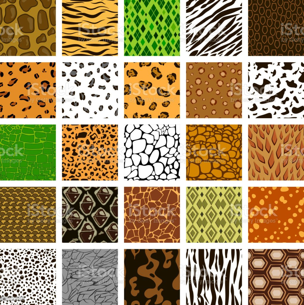 Seamless pattern of different animal skin vector art illustration