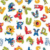 Seamless vector pattern of different monsters on a white background. Excellent print for children's t-shirt, packing paper, wallpaper. Alphabet of fictitious animals.