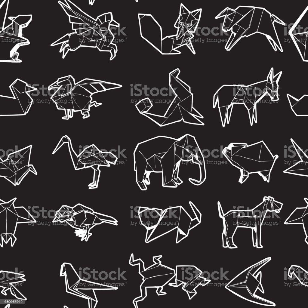 Seamless Pattern of Different Origami Animal. Hand Drawn Illustration. - illustrazione arte vettoriale