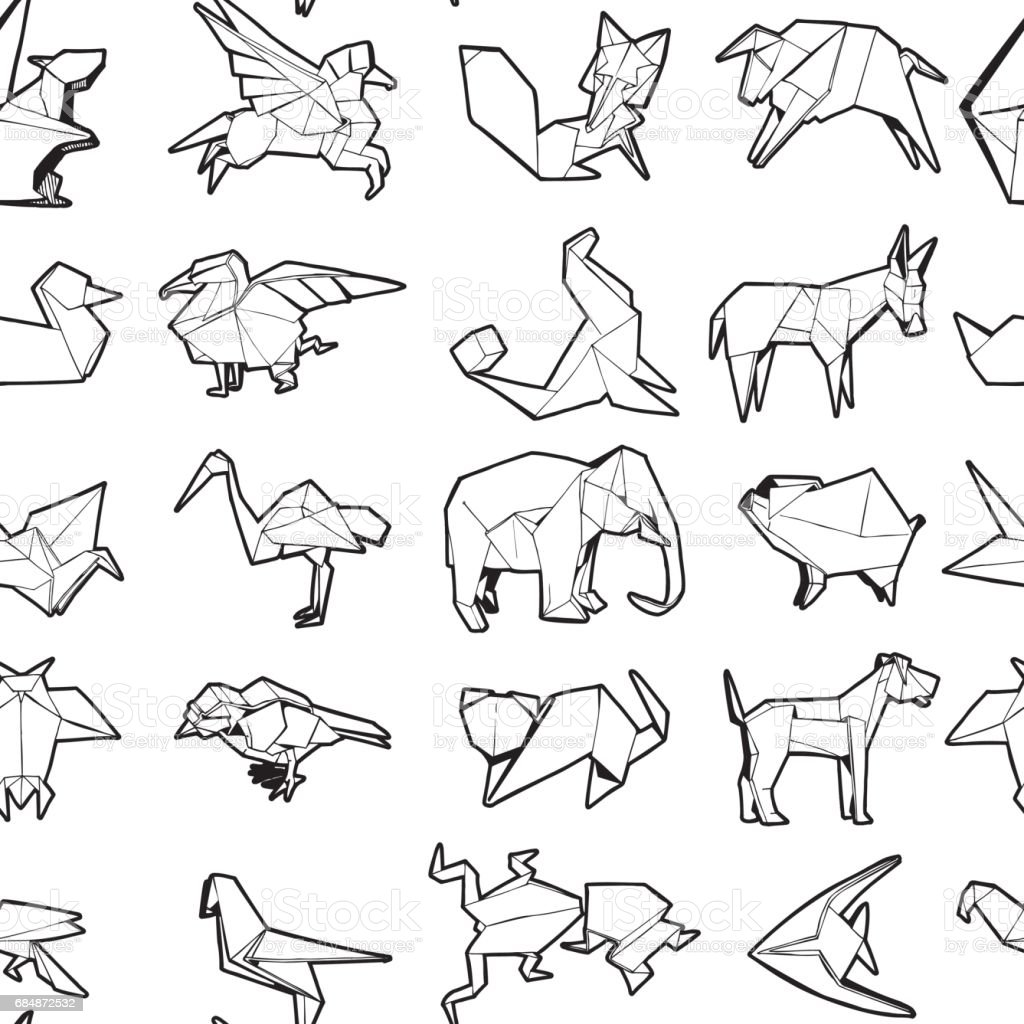 Seamless Pattern Of Different Origami Animal Hand Drawn Illustration