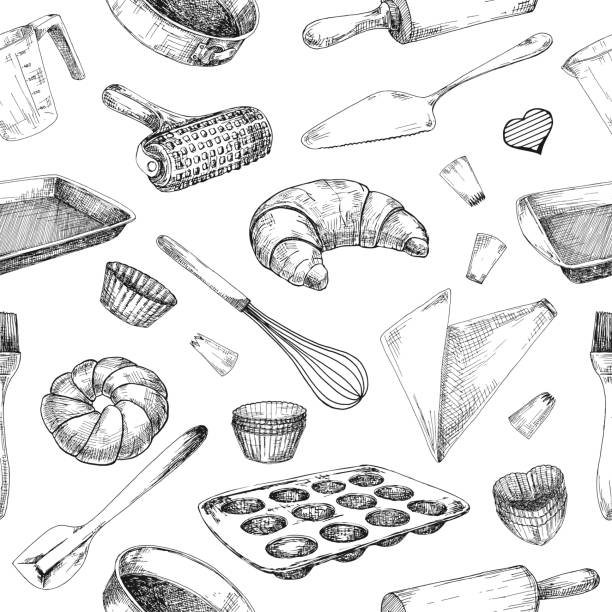 Seamless pattern of dishes for baking. Baking stuff Vector illustration in sketch style. Seamless pattern of dishes for baking. Baking stuff Vector illustration in sketch style. cooking drawings stock illustrations