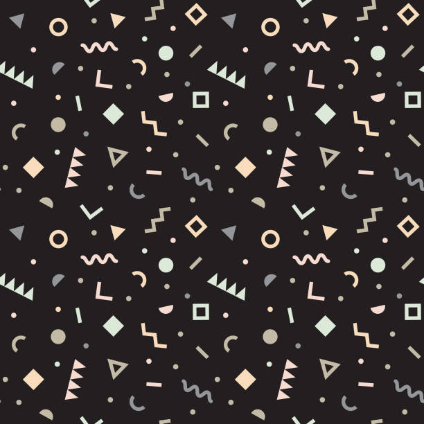 seamless pattern of doodle geometric shapes in pastel colors on black background. Vector illustration. Trendy retro pop design for fashion, fabric prints, wallpaper, packaging, banner, poster, wrapping paper, postcards. squiggle stock illustrations