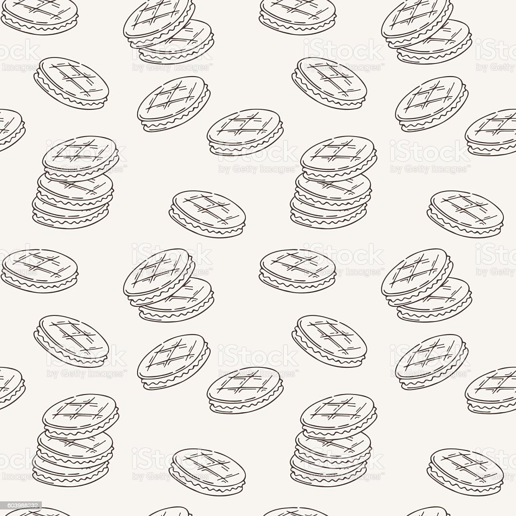 Seamless pattern of double cookies with a layer of vector art illustration