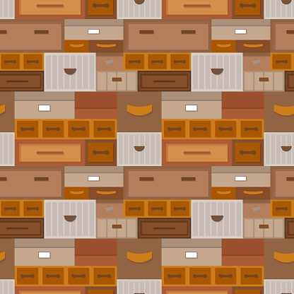 Seamless pattern of drawers and boxes, vintage colors