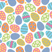 Seamless pattern of Easter eggs and flowers on white background. Stock illustration