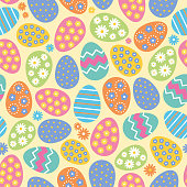 Seamless pattern of Easter eggs and flowers on yellow background. stock illustration