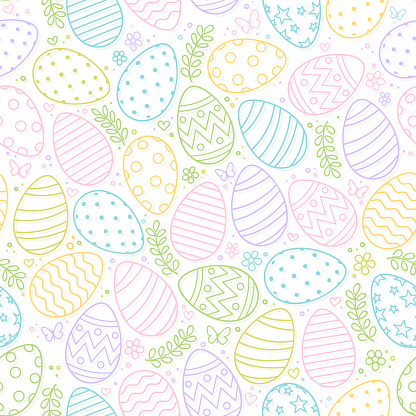 Seamless pattern of Easter eggs, flowers and butterfly on white background
